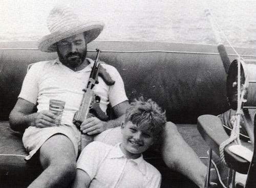 Hemingway fishing with his son.